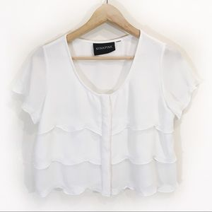 MinkPink Crop Scalloped Blouse Size Small White